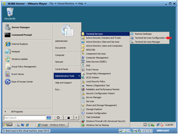 how to enable terminal services in windows 7