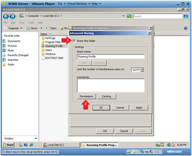 how to create roaming profile in windows server 2008 r2