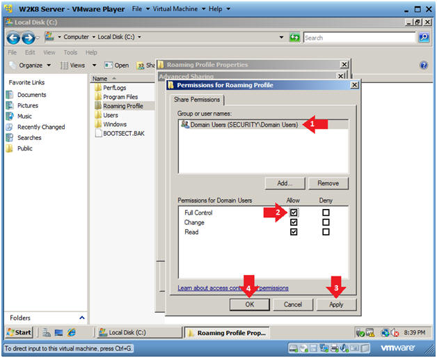 how to create roaming profile in server 2008