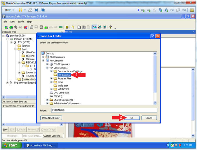 FTK Imager: Lesson 4: Mount Image File, Recover Deleted File