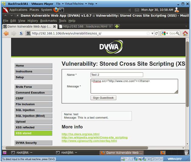 Damn Vulnerable Web App (DVWA): Lesson 9: Cross Site