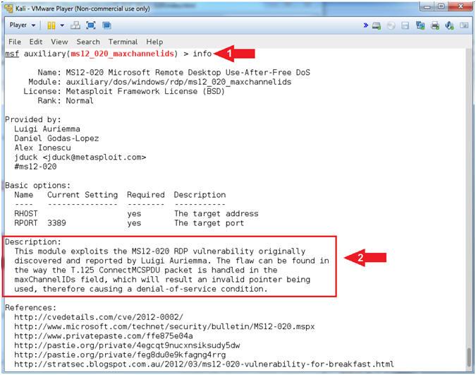 Metasploit: MS12-020: Kali 1 0: RDP Windows Exploit, Set