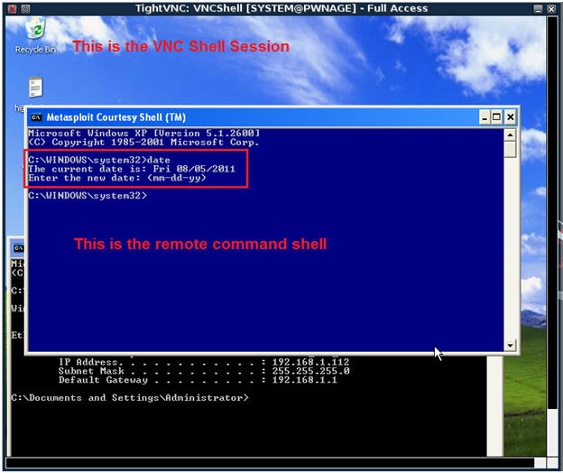 Metasploit: MS08-067: Establishing A VNCShell To The