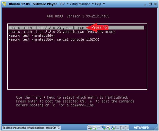 Ubuntu: Lesson 2: Use Ubuntu 12 04 Grub to boot into single user mode