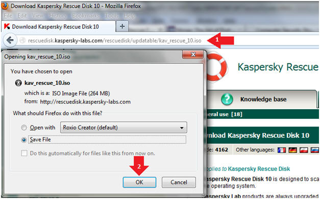 Windows 7: Lesson 6: Download and Run Kaspersky Rescue Disk